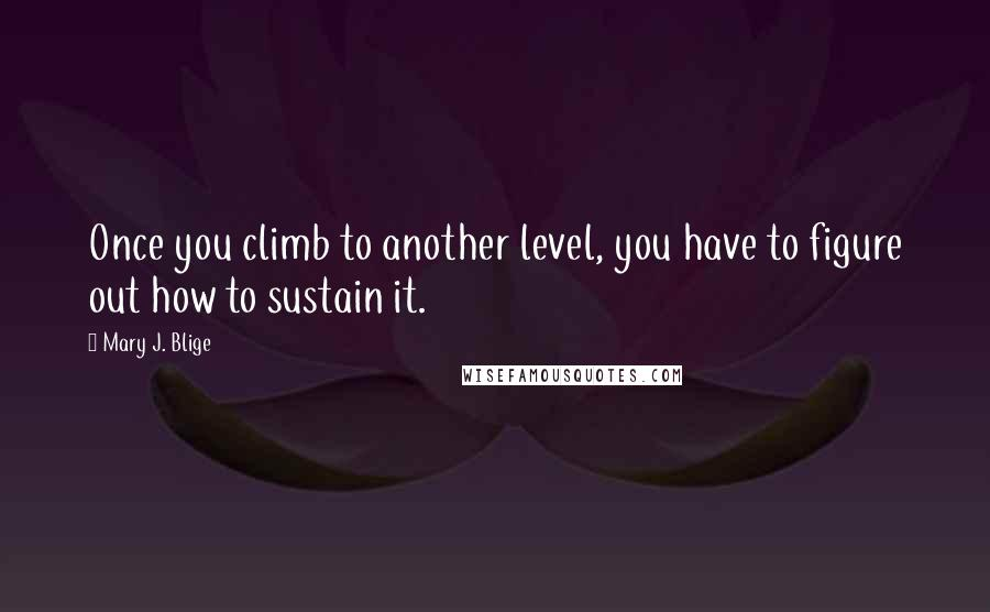Mary J. Blige quotes: Once you climb to another level, you have to figure out how to sustain it.