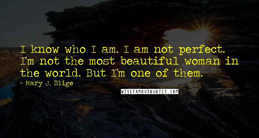 Mary J. Blige quotes: I know who I am. I am not perfect. I'm not the most beautiful woman in the world. But I'm one of them.