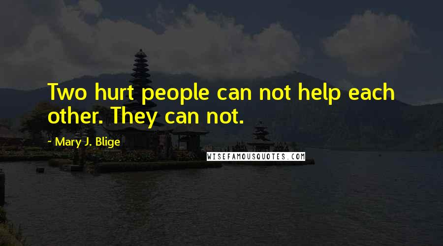 Mary J. Blige quotes: Two hurt people can not help each other. They can not.