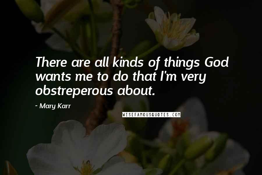 Mary Karr quotes: There are all kinds of things God wants me to do that I'm very obstreperous about.