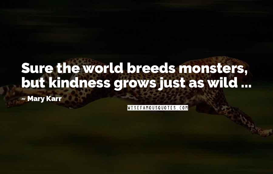 Mary Karr quotes: Sure the world breeds monsters, but kindness grows just as wild ...