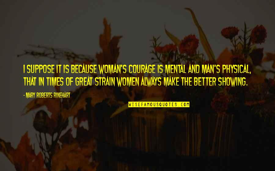 Mary Roberts Rinehart Quotes By Mary Roberts Rinehart: I suppose it is because woman's courage is