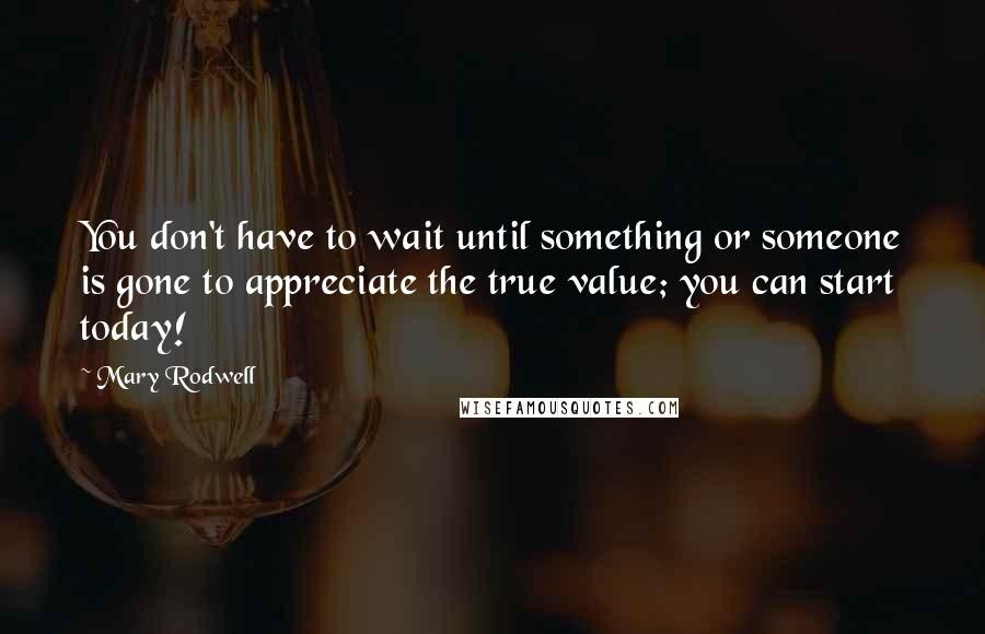 Mary Rodwell quotes: You don't have to wait until something or someone is gone to appreciate the true value; you can start today!
