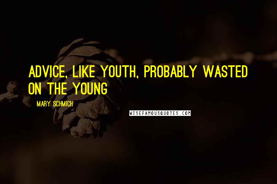 Mary Schmich quotes: Advice, like youth, probably wasted on the young