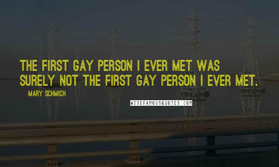 Mary Schmich quotes: The first gay person I ever met was surely not the first gay person I ever met.