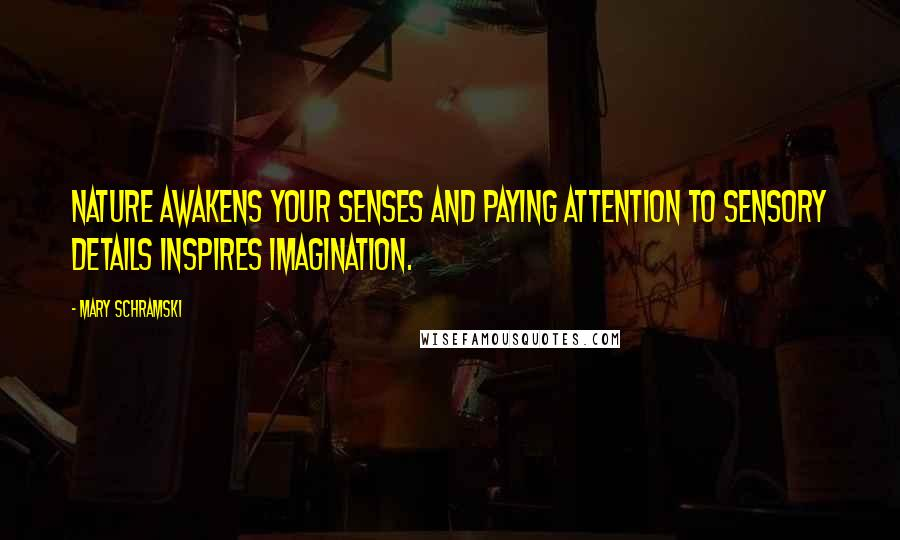 Mary Schramski quotes: Nature awakens your senses and paying attention to sensory details inspires imagination.