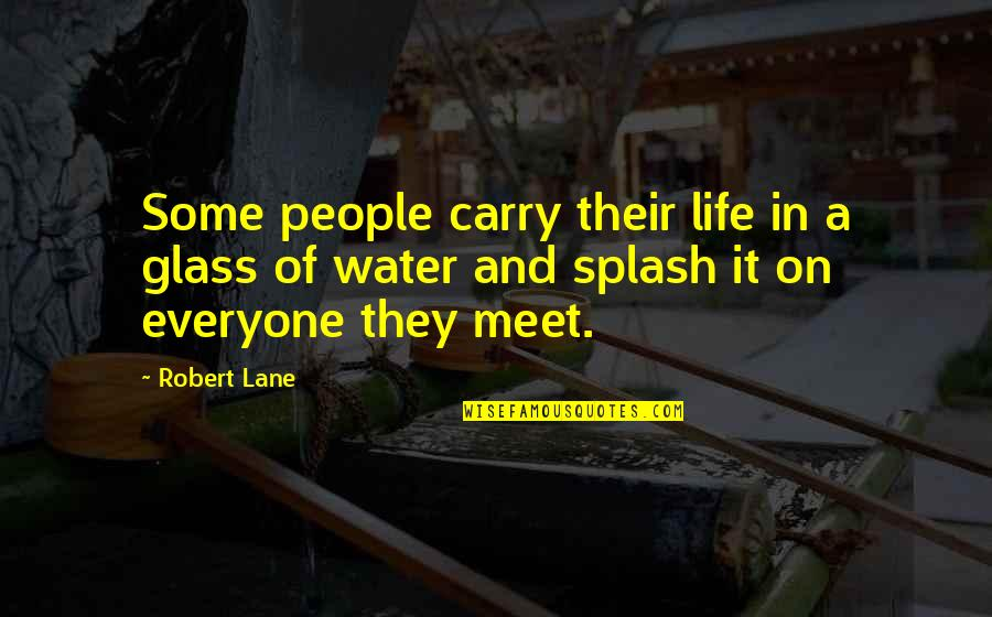 Masach Quotes By Robert Lane: Some people carry their life in a glass