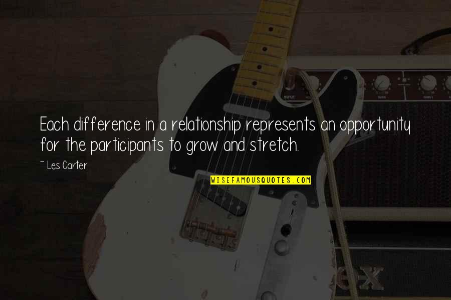 Masia Quotes By Les Carter: Each difference in a relationship represents an opportunity