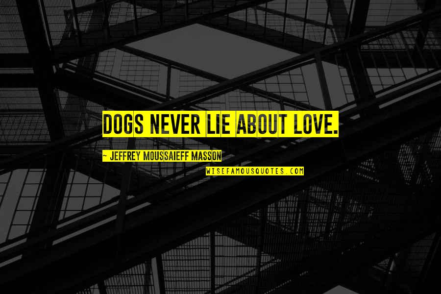 Masson Quotes By Jeffrey Moussaieff Masson: Dogs never lie about love.