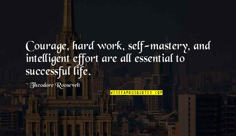 Mastery Of Life Quotes By Theodore Roosevelt: Courage, hard work, self-mastery, and intelligent effort are