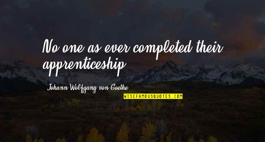 Matchwell Quotes By Johann Wolfgang Von Goethe: No one as ever completed their apprenticeship.