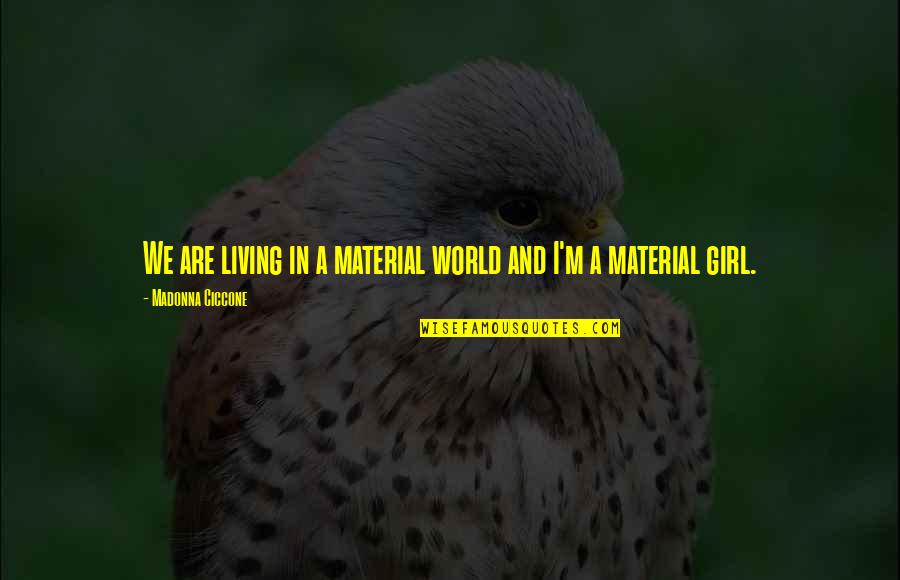 Material Girl Quotes By Madonna Ciccone: We are living in a material world and