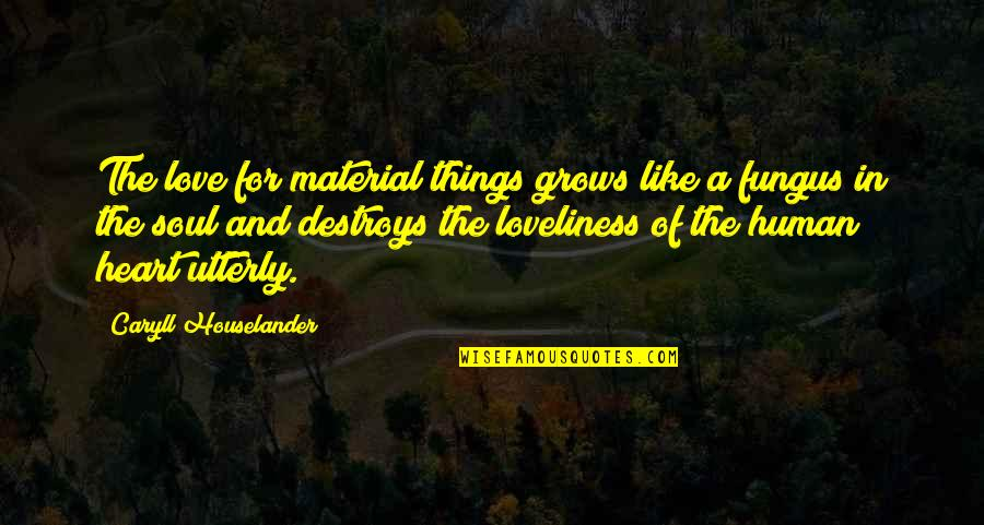 Material Things And Love Quotes By Caryll Houselander: The love for material things grows like a