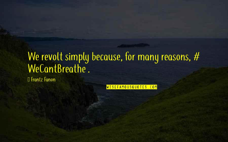 Material Things And Love Quotes By Frantz Fanon: We revolt simply because, for many reasons, #