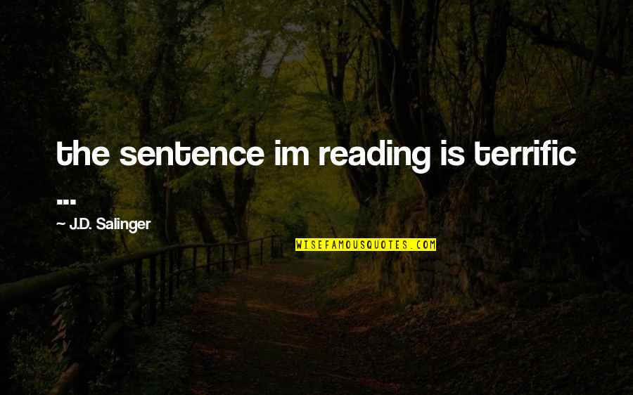 Matt Colwell Quotes By J.D. Salinger: the sentence im reading is terrific ...