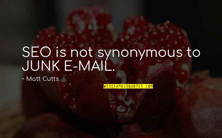 Matt Cutts Seo Quotes By Matt Cutts: SEO is not synonymous to JUNK E-MAIL.