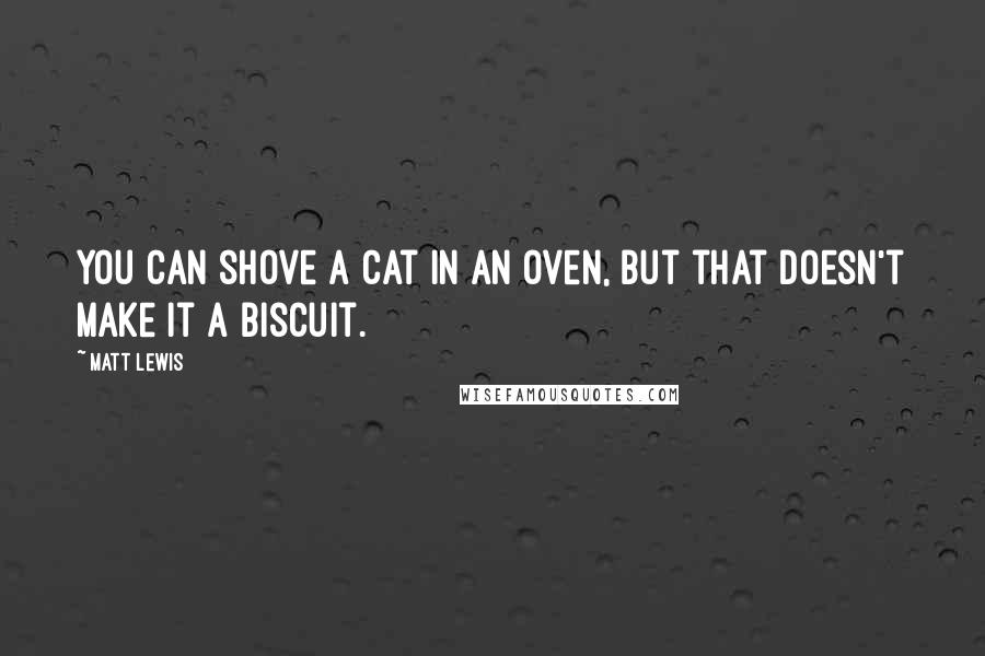 Matt Lewis quotes: You can shove a cat in an oven, but that doesn't make it a biscuit.