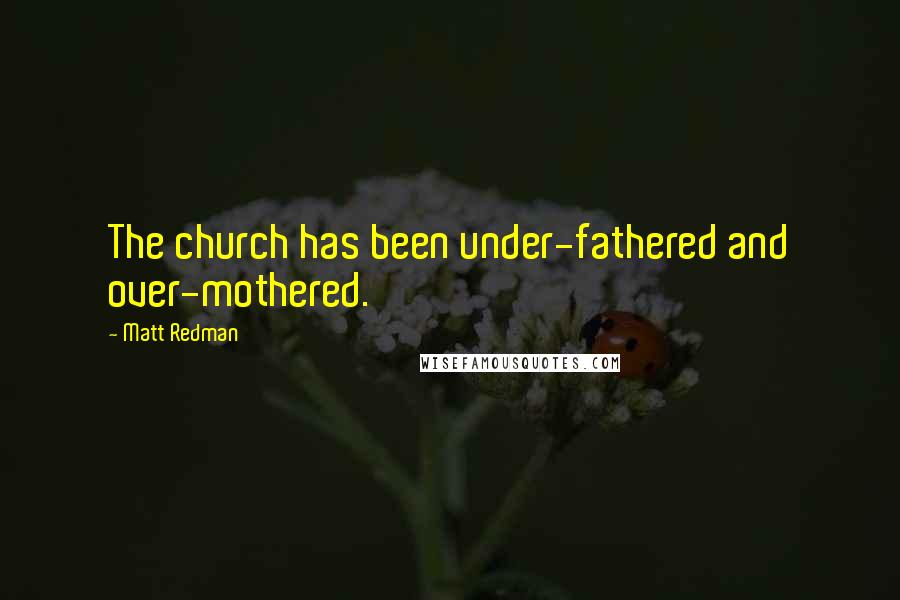 Matt Redman quotes: The church has been under-fathered and over-mothered.