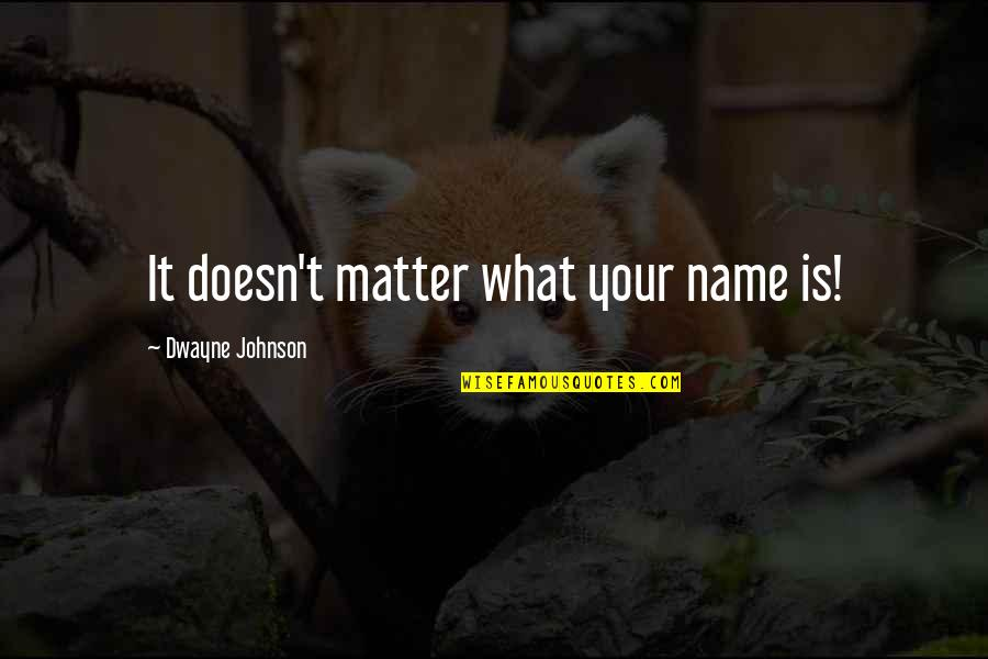 Matter Quotes By Dwayne Johnson: It doesn't matter what your name is!