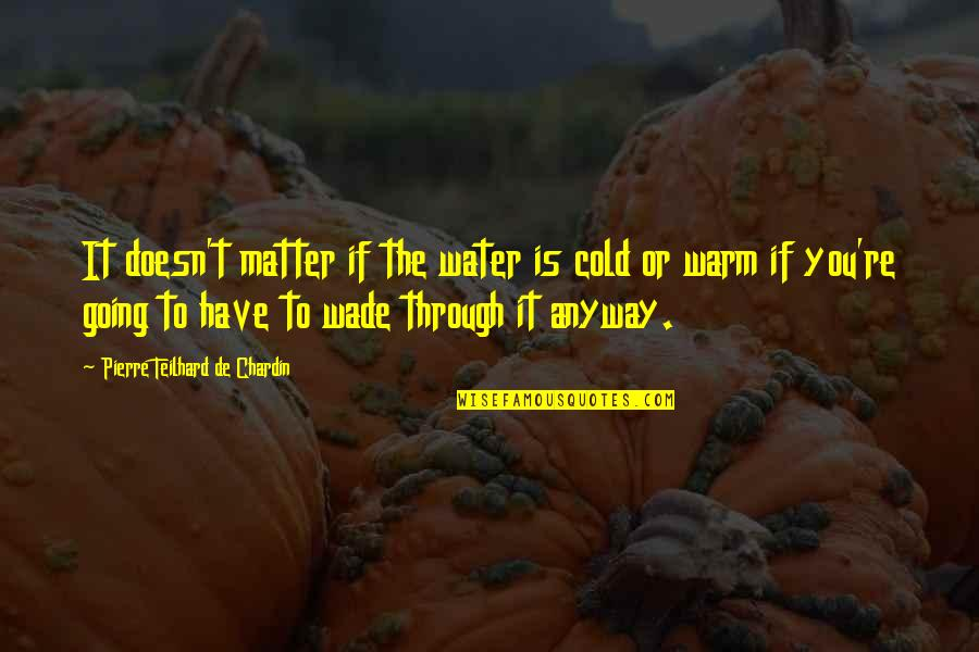 Matter Quotes By Pierre Teilhard De Chardin: It doesn't matter if the water is cold