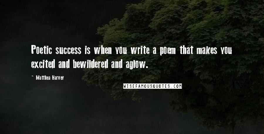 Matthea Harvey quotes: Poetic success is when you write a poem that makes you excited and bewildered and aglow.