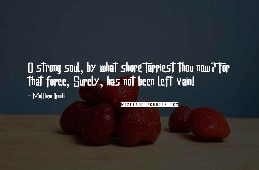 Matthew Arnold quotes: O strong soul, by what shore Tarriest thou now? For that force, Surely, has not been left vain!