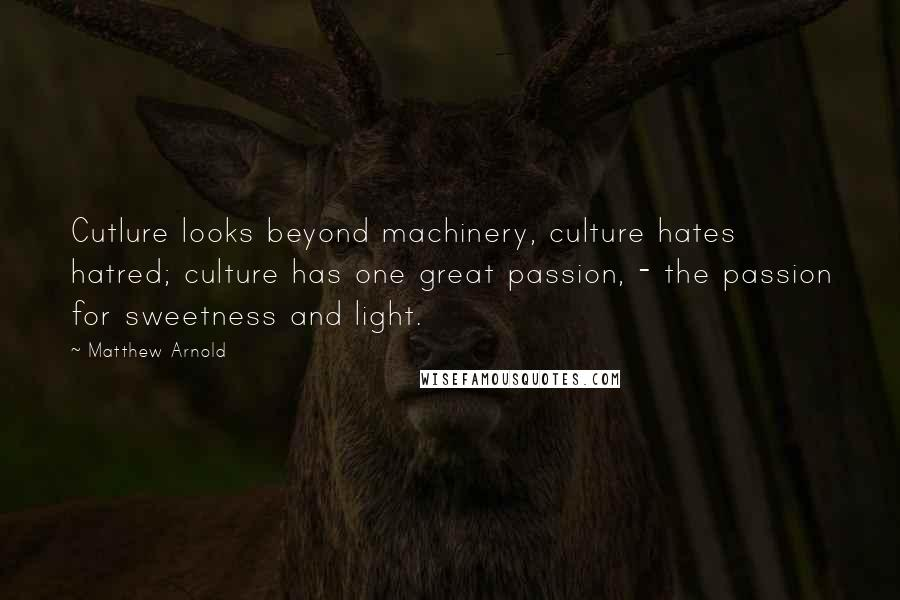 Matthew Arnold quotes: Cutlure looks beyond machinery, culture hates hatred; culture has one great passion, - the passion for sweetness and light.