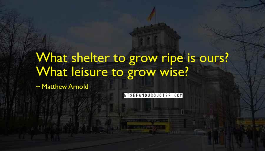 Matthew Arnold quotes: What shelter to grow ripe is ours? What leisure to grow wise?