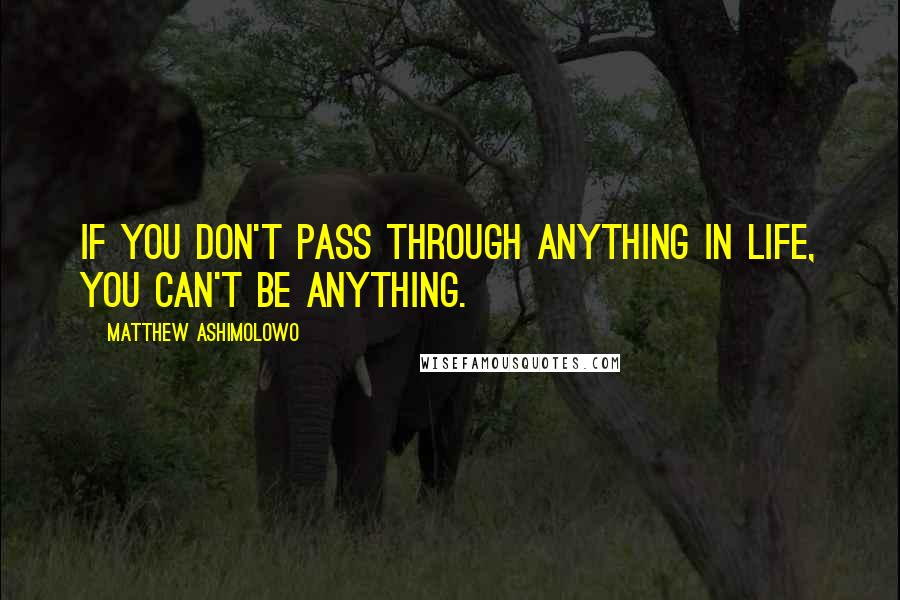Matthew Ashimolowo quotes: If you don't pass through anything in life, you can't be anything.