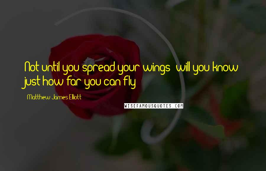 Matthew James Elliott quotes: Not until you spread your wings; will you know just how far you can fly
