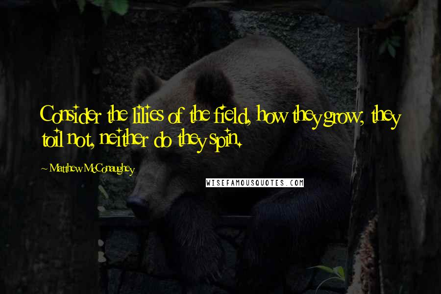 Matthew McConaughey quotes: Consider the lilies of the field, how they grow; they toil not, neither do they spin.