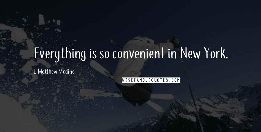 Matthew Modine quotes: Everything is so convenient in New York.