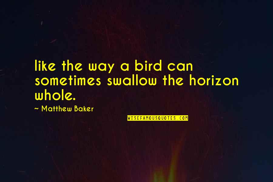 Matthew Quotes By Matthew Baker: like the way a bird can sometimes swallow