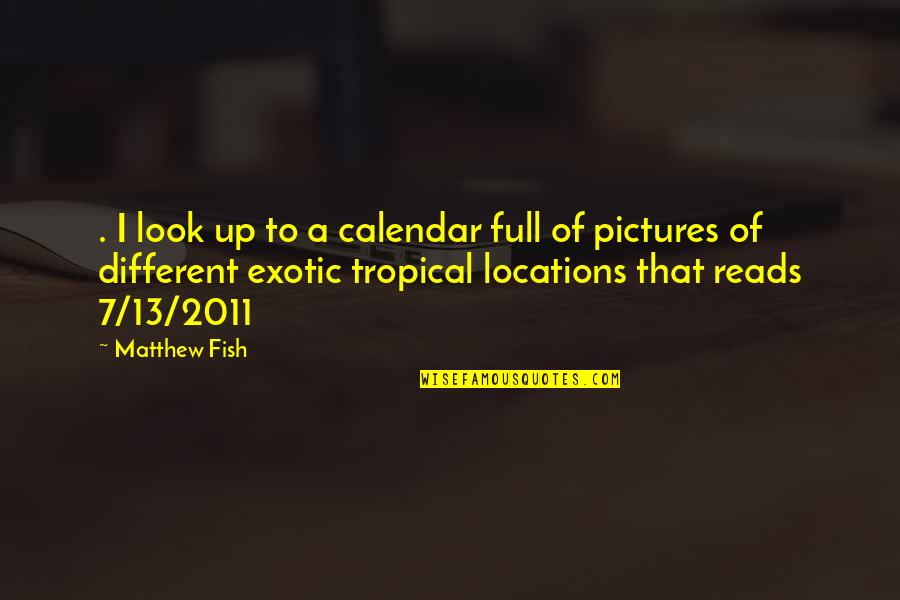 Matthew Quotes By Matthew Fish: . I look up to a calendar full