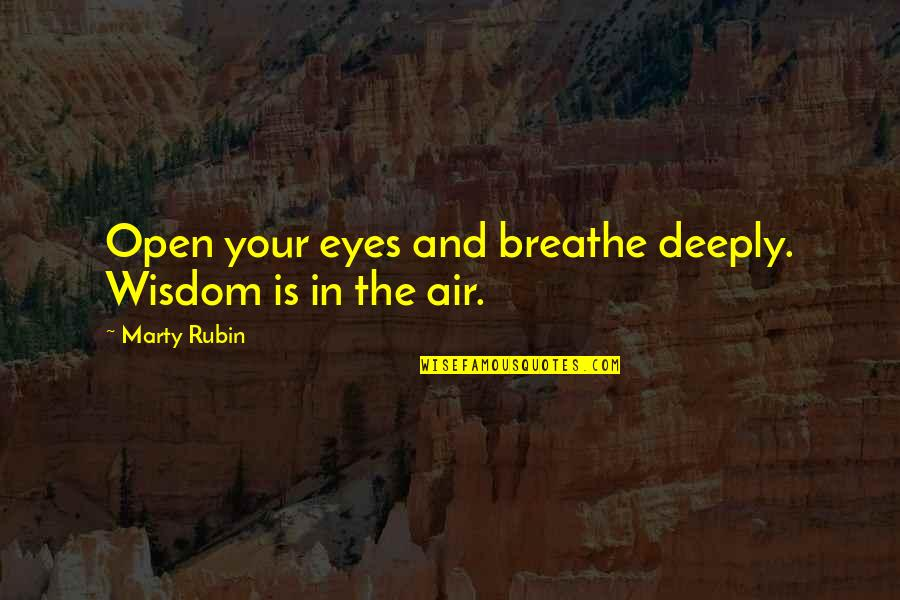 Mattie Montgomery Quotes By Marty Rubin: Open your eyes and breathe deeply. Wisdom is