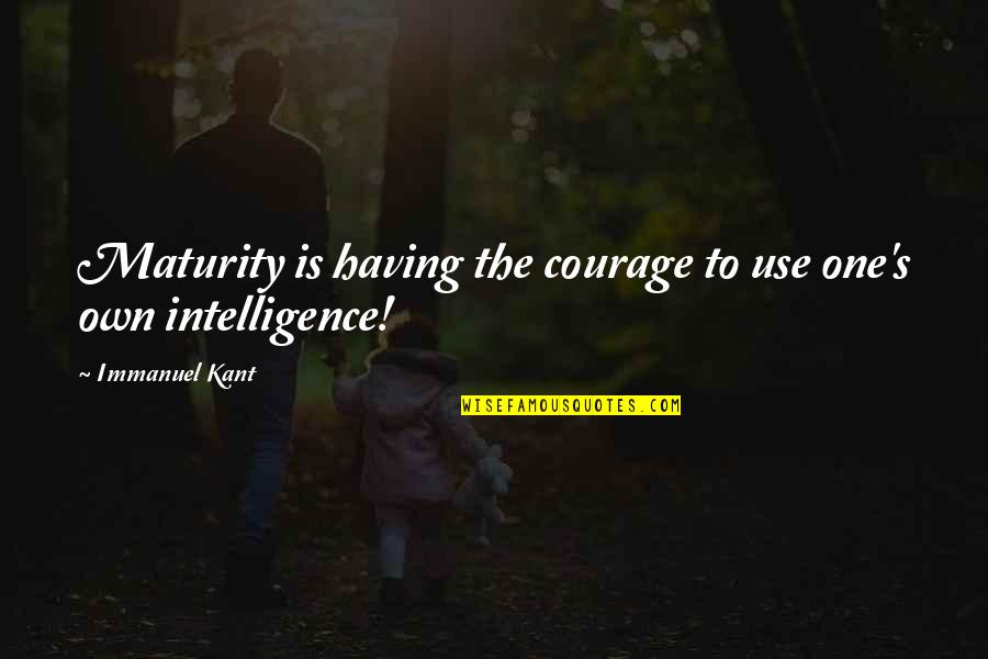 Maturity And Wisdom Quotes By Immanuel Kant: Maturity is having the courage to use one's
