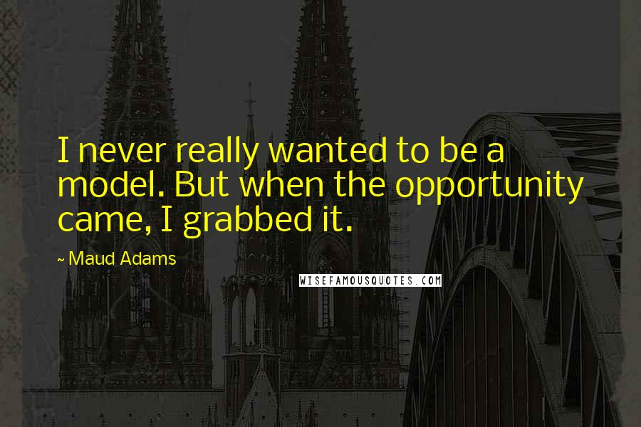 Maud Adams quotes: I never really wanted to be a model. But when the opportunity came, I grabbed it.