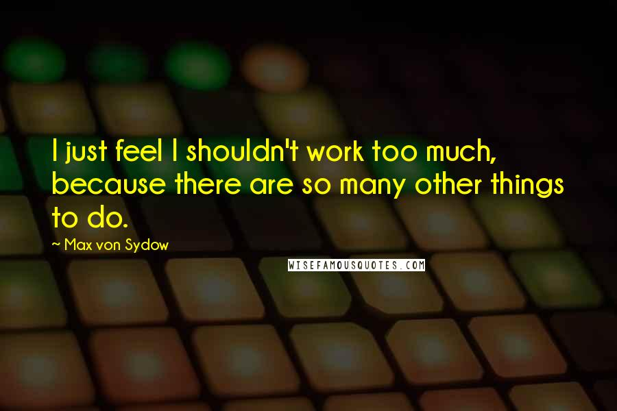 Max Von Sydow quotes: I just feel I shouldn't work too much, because there are so many other things to do.