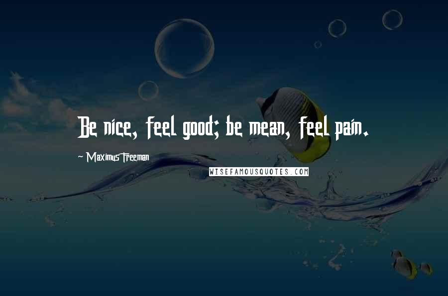 Maximus Freeman quotes: Be nice, feel good; be mean, feel pain.