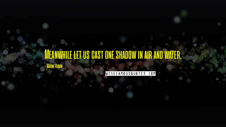 Maxine Kumin quotes: Meanwhile let us cast one shadow in air and water.