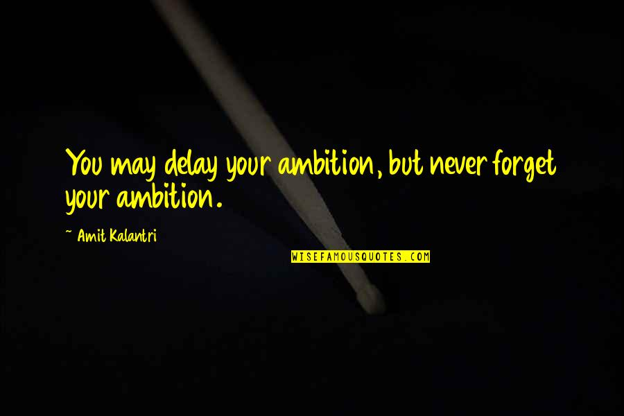May We Never Forget Quotes By Amit Kalantri: You may delay your ambition, but never forget