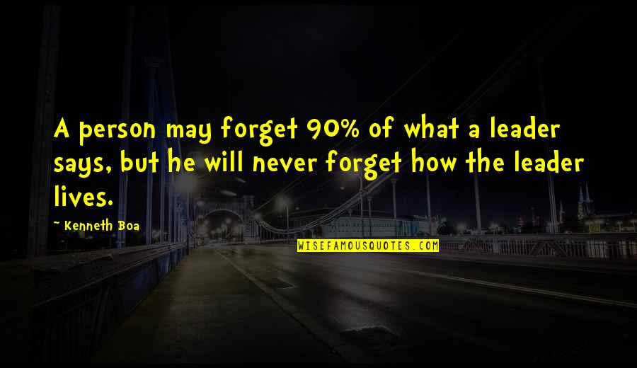 May We Never Forget Quotes By Kenneth Boa: A person may forget 90% of what a