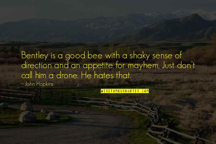 Mayhem Quotes By John Hopkins: Bentley is a good bee with a shaky