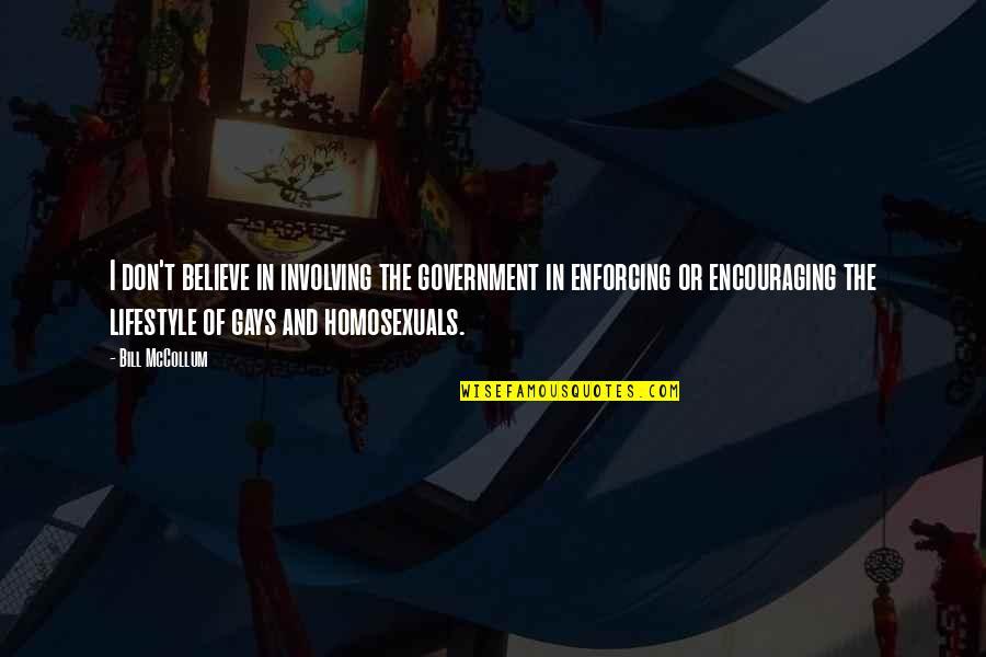 Mccollum's Quotes By Bill McCollum: I don't believe in involving the government in