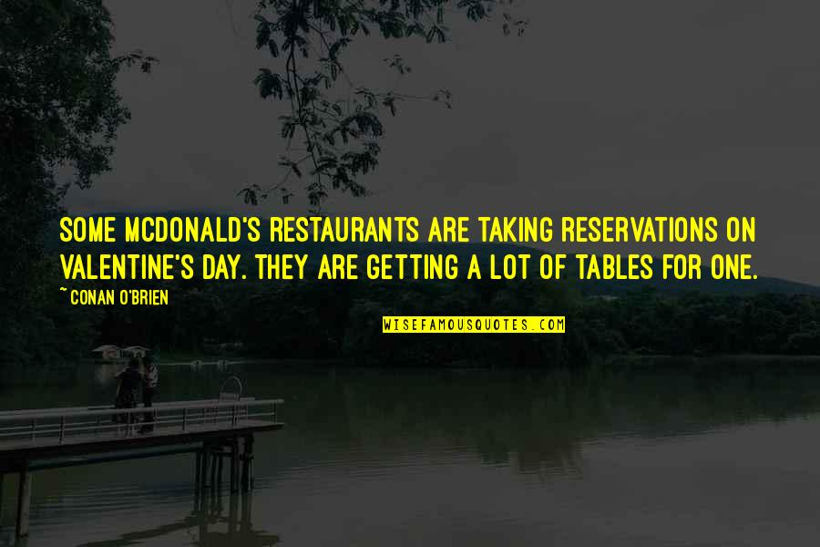 Mcdonalds's Quotes By Conan O'Brien: Some McDonald's restaurants are taking reservations on Valentine's