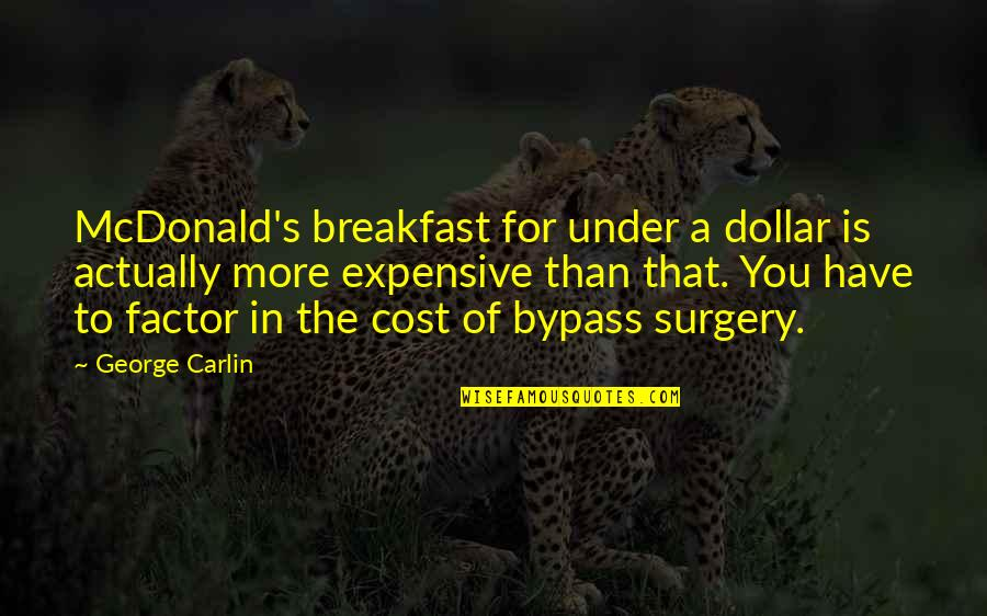 Mcdonalds's Quotes By George Carlin: McDonald's breakfast for under a dollar is actually