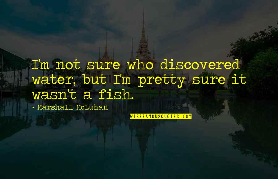 Mcluhan's Quotes By Marshall McLuhan: I'm not sure who discovered water, but I'm