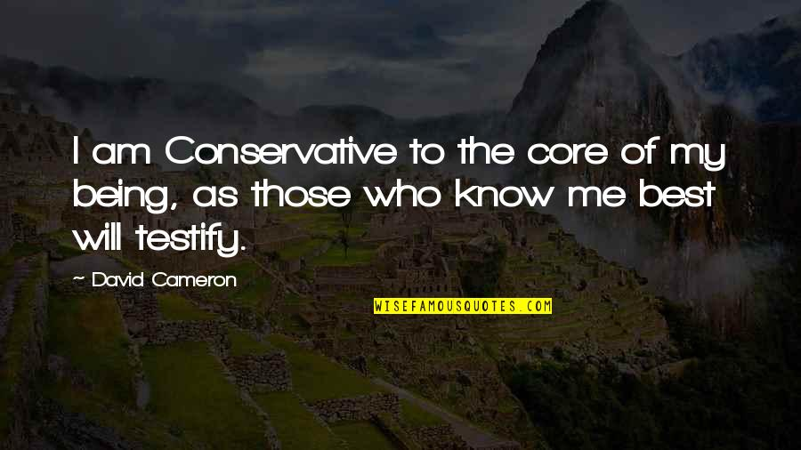Me Being The Best Quotes By David Cameron: I am Conservative to the core of my