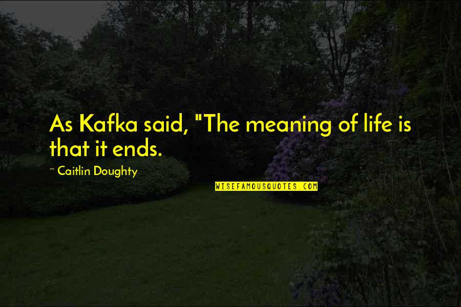 """Me Gusta Mucho Quotes By Caitlin Doughty: As Kafka said, """"The meaning of life is"""
