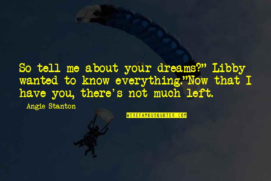"""Me Love You Quotes By Angie Stanton: So tell me about your dreams?"""" Libby wanted"""